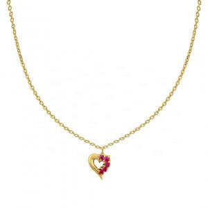14K Gold 0.10 Ct. Genuine Ruby Gemstone Heart Wedding Necklace Fine Jewelry