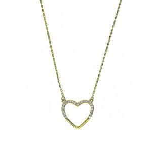 14K Gold 0.12 Ct. Genuine Pave Diamond Heart Charm Pendant Necklace Fine Jewelry