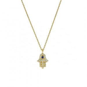Real Diamond Ruby Stone Hamsa Charm July Birthstone Necklace in 14K Gold