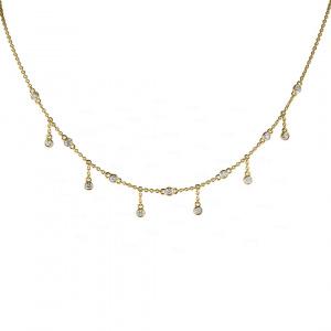 Diamond Charm Station Necklace