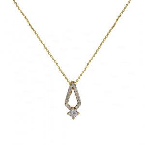 14K Gold 0.16 Ct. Genuine Diamond Minimalist Pendant Necklace Fine Jewelry