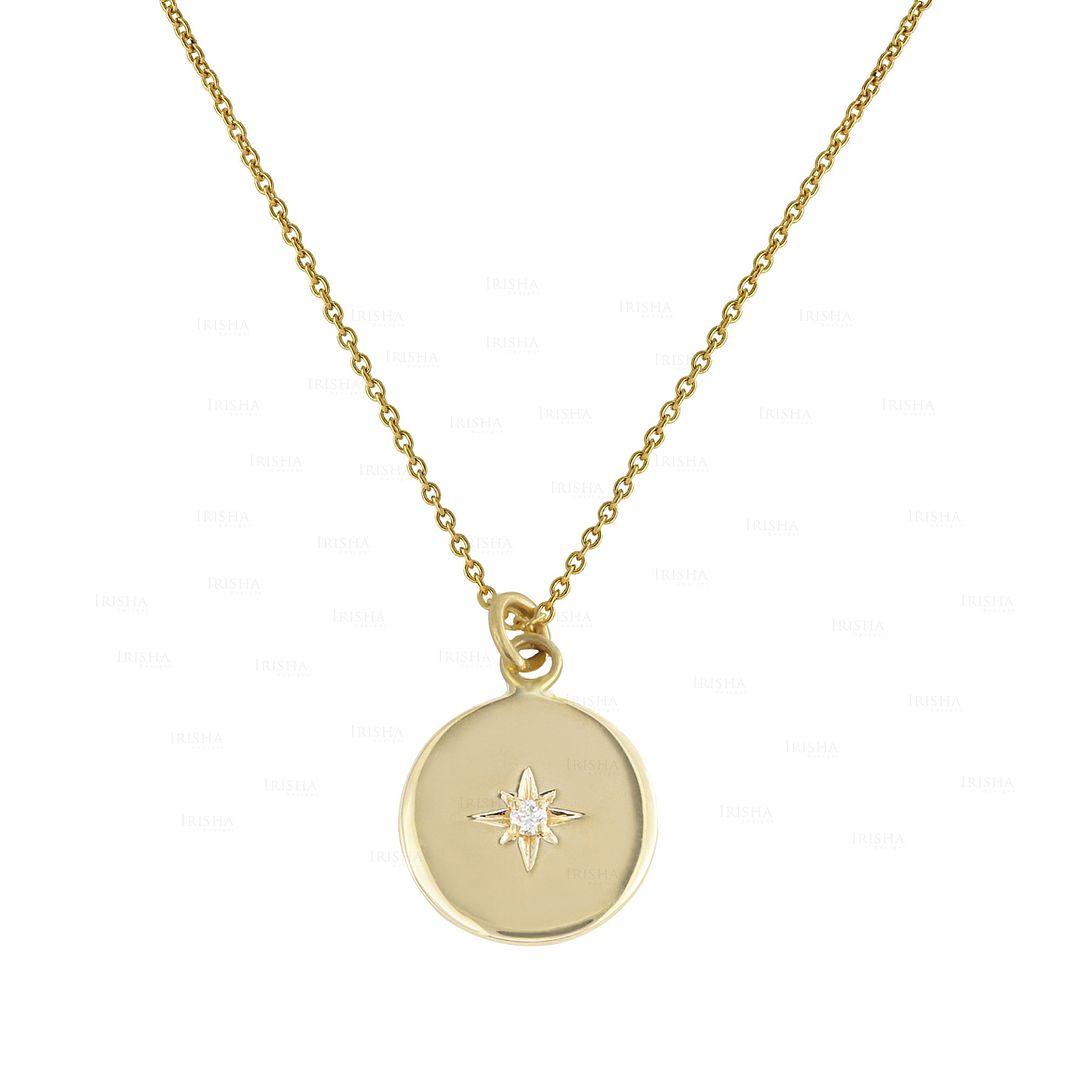 14K Gold 0.01 Ct. Genuine Diamond Engraved Starburst Disc Charm Pendant