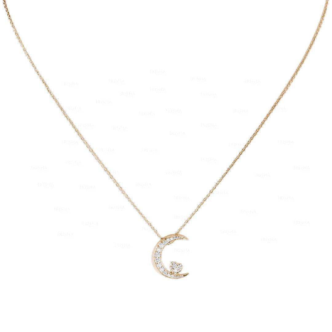 14K Gold 0.25Ct. Genuine Diamond Crescent Moon Heart Charm Necklace Fine Jewelry