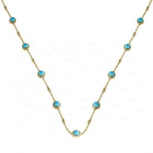 Bezel Turquoise Stationed Necklace