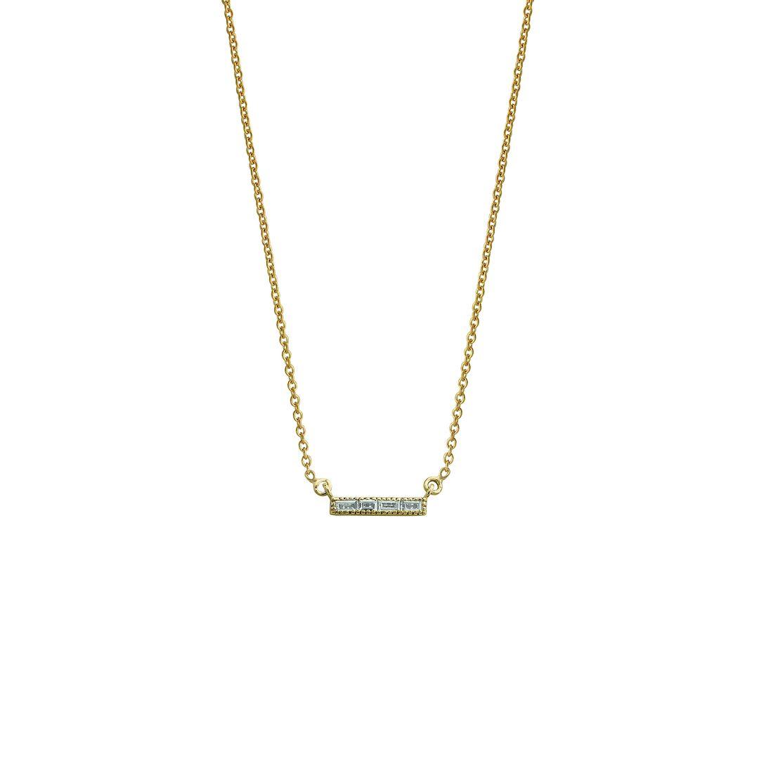 14k Yellow Gold VS Clarity F Color Baguette Diamond Bar Pendant Necklace