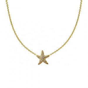 14K Gold 0.25 Ct. Genuine Diamond Starfish Charm Pendant Necklace Fine Jewelry