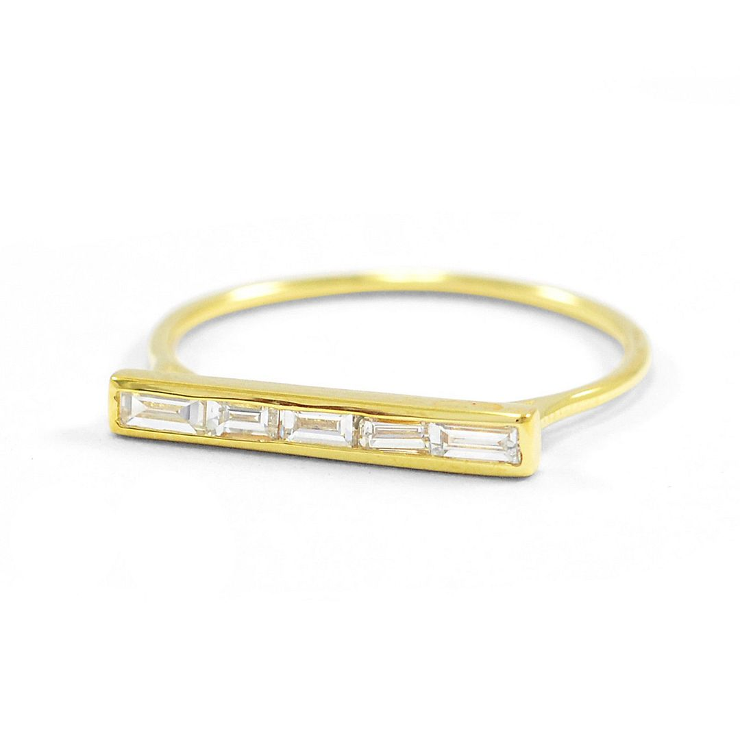 14K Yellow Gold 0.20 Ct. Genuine Baguette Diamond Bar Ring Fine Jewelry Size-6.5 US