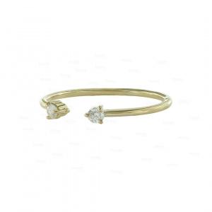 Real Diamond Open Cuff Design Birthday Gift Ring in 14K Gold Fine Jewelry