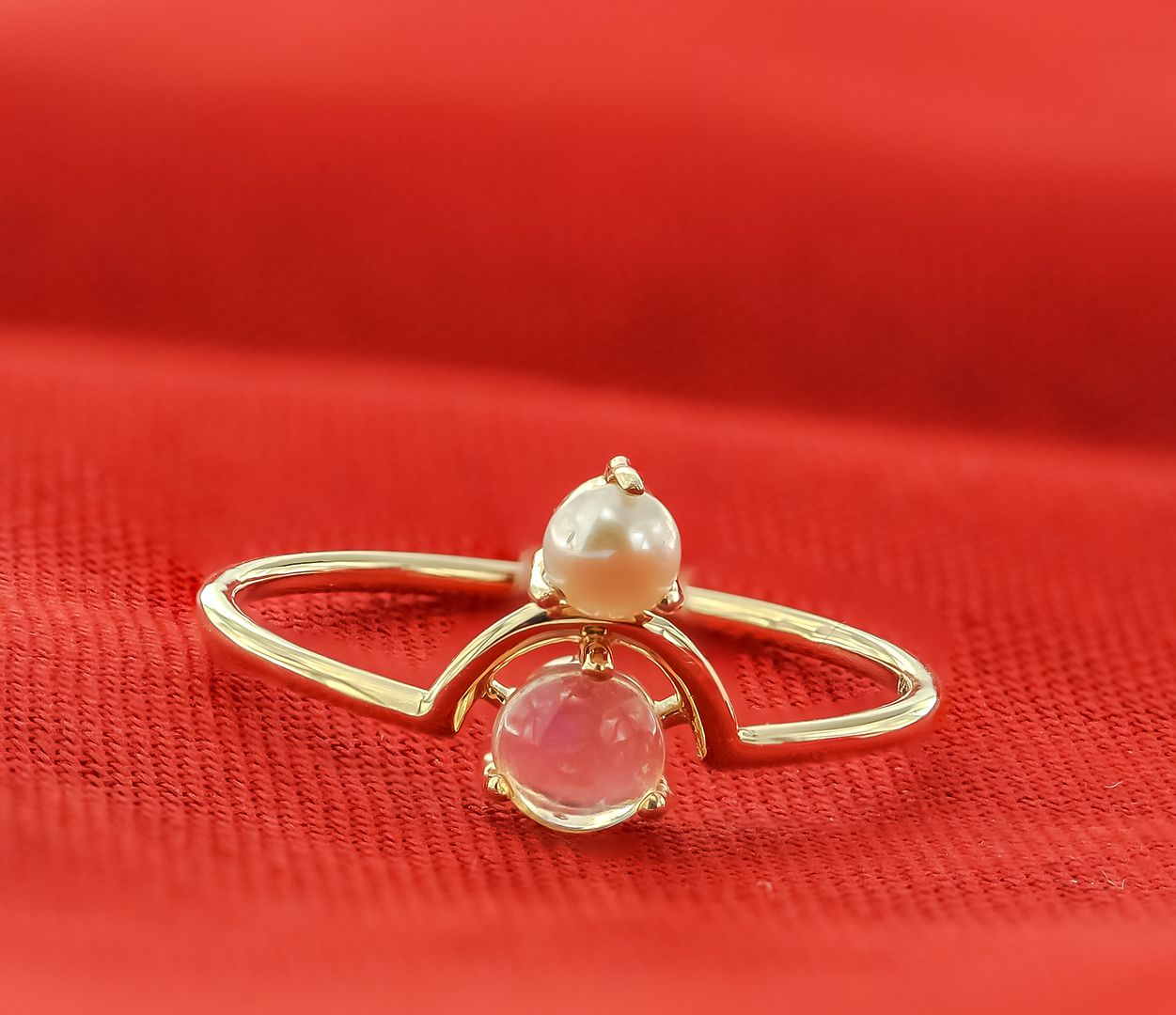 14K Yellow Gold Genuine Pearl And Opal Gemstone Ring Fine Jewelry Size-6 US