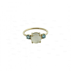 Real Blue Topaz-Moonstone Cocktail Ring in 14K Gold Fine Jewelry size- 3 to 8 US