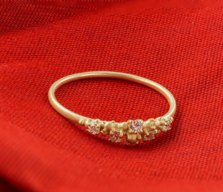 14K Yellow Gold 0.12 Ct. Genuine Diamond Golden Granules Ring Size-6.5 US