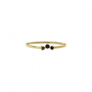 14K Yellow Gold 0.07 Ct. Genuine Black Diamond Stacking Ring -7 US