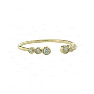14KGold 0.11 Ct. Genuine Diamond Minimal Open Ring Fine Jewelry Size-3 to 8 US