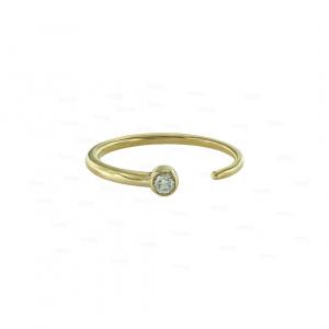 0.05 Ct. VS Clarity Earthmined genuine Diamond Open Cuff Style 14k Gold Ring
