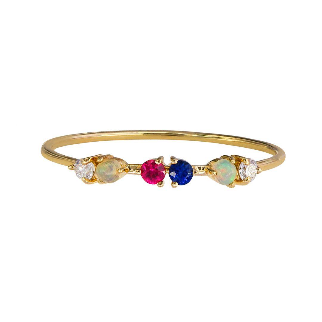 14K Yellow Gold Genuine Diamond Opal Ruby And Blue Sapphire Gemstone Friendship Ring Size-8 US