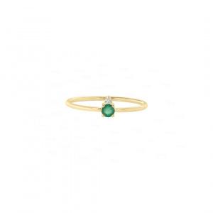 Real Diamond-Emerald Stone Wedding Ring in 14K Gold Fine Jewelry