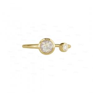 Dreamy Moonstone and Diamond Open Cuff Ring