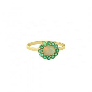 Opal Emerald Halo Ring