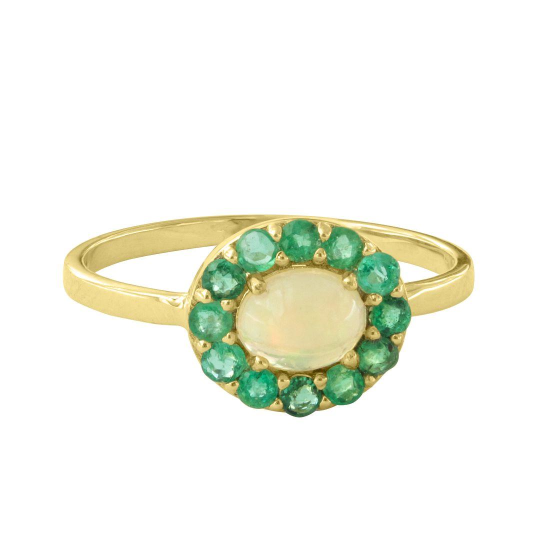 Genuine Emerald Opal Gemstone Ring Solid 14k Yellow Gold Handmade Fine Jewelry