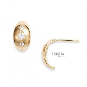 14K Gold 0.21 Ct. Genuine Diamond Half Hoop Minimal Earrings Fine Jewelry