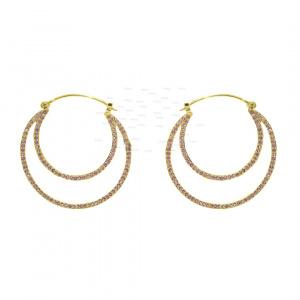 14K Gold 1.20 Ct. Genuine Ruby Gemstone Double Hoop Earrings Fine Jewelry