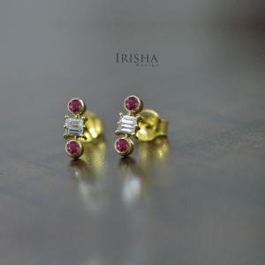 14K Gold Genuine Baguette Diamond And Round Ruby Gemstone Earrings Fine Jewelry