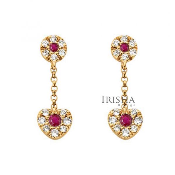 14K Gold Genuine Diamond And Ruby Drop Heart Chain Earrings Fine Jewelry