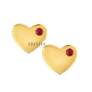 14K Gold 0.08 Ct. Genuine Ruby Gemstone 10 mm Heart Studs Earrings Fine Jewelry