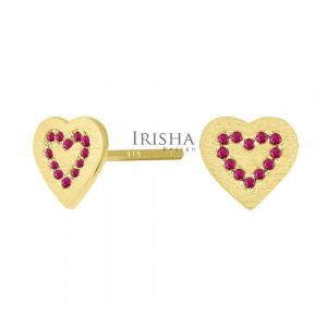 14K Gold 0.25 Ct. Genuine Ruby Concentric Hearts Stud Earrings Fine Jewelry