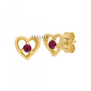 14K Gold 0.16 Ct. Genuine Ruby Gemstone 8 mm Heart Earrings Fine Jewelry