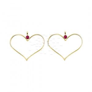 14K Gold 0.08 Ct. Genuine Ruby Long Heart Hook Earrings Fine Jewelry