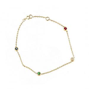 Multi-Gemstone Bezel Bracelet