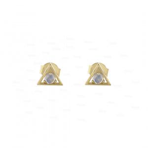 Moonstone Triangle Studs