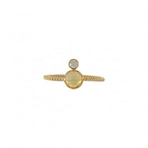 Opal Diamond Crown Ring
