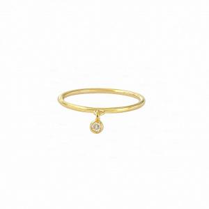 Bezel Diamond Dangle Ring