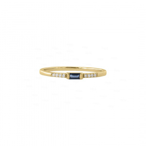 Diamond And Blue Sapphire Baguette Ring