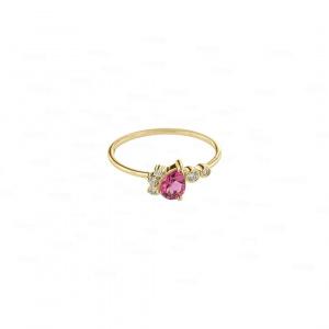 Pear Pink Tourmaline Ring