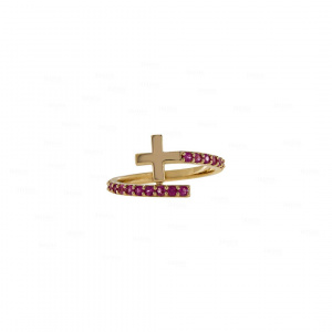 Ruby Cross Bypass Ring