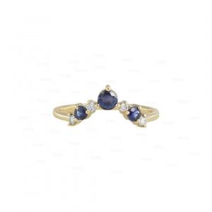 Blue Sapphire Chevron Ring