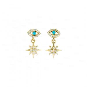 Evil Eye Starburst Earrings
