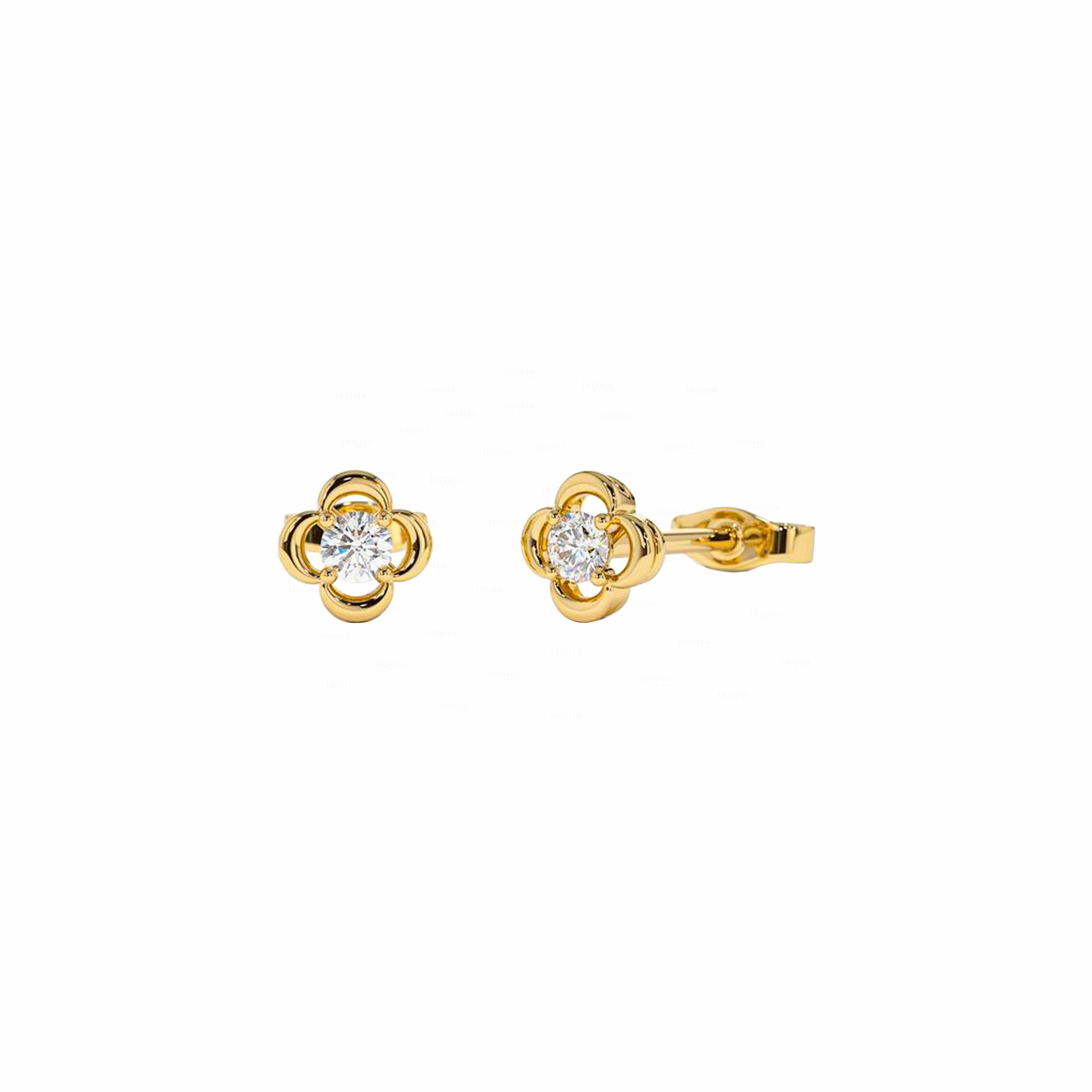 Four Petal Flower Studs | Floral Diamond Earrings