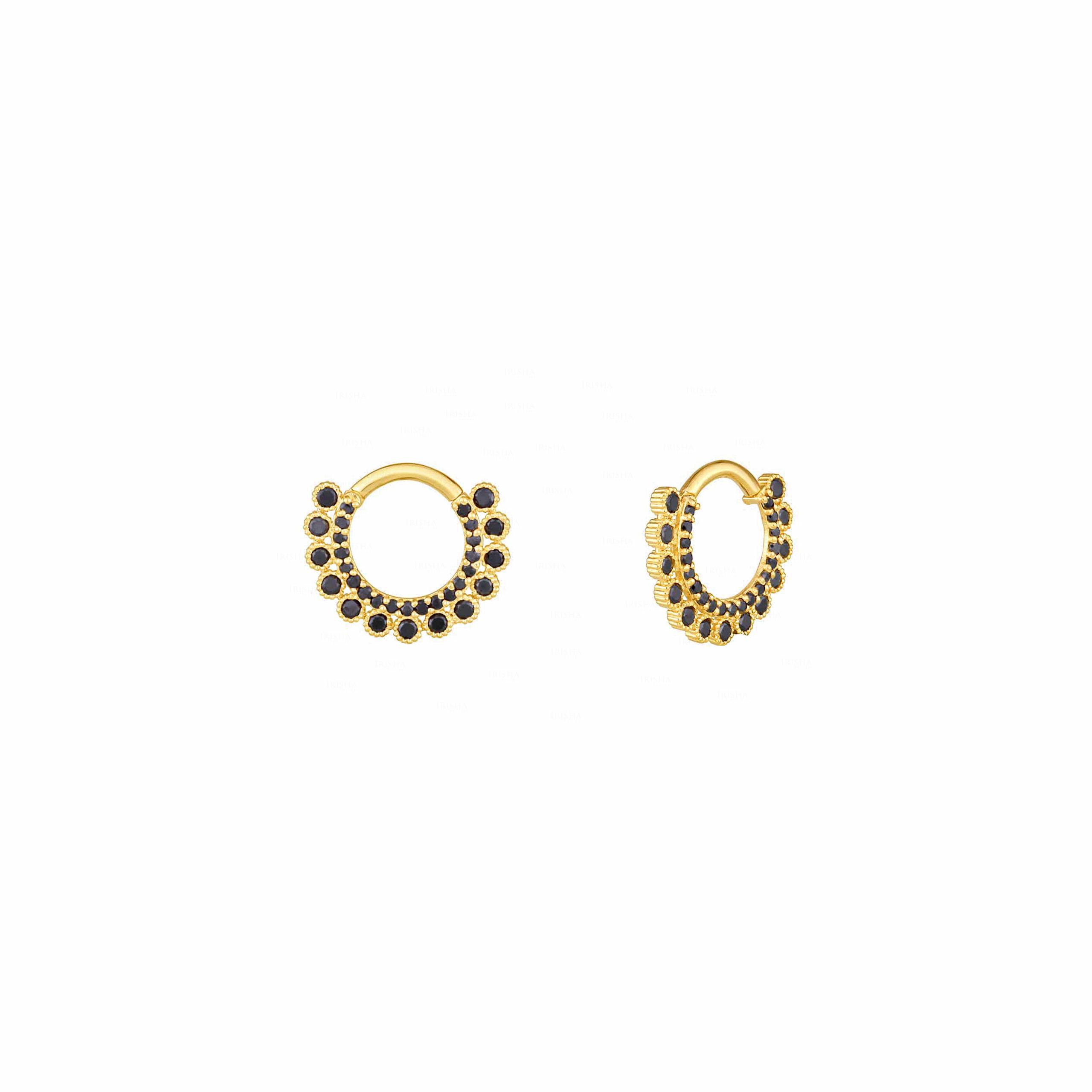 Ciara Earring | Black Diamond Huggie