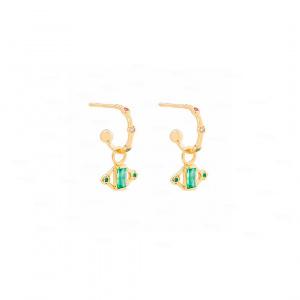 Emerald Baguette Ear Charm|14k Gold