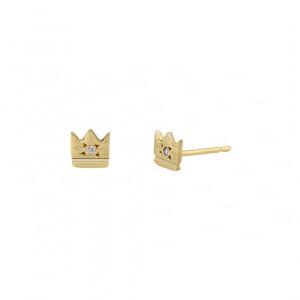 Crown Stud|14k Gold, Diamond