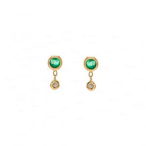 Bezel Drop Earring 14k Gold, Emerald, Diamond