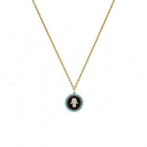 Diamond Turquoise Hamsa Necklace