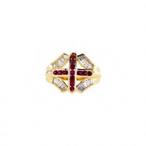 Tappered Baguette Ruby Cross Men's Ring