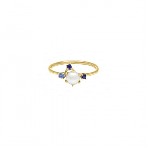 Meghan?Freshwater Pearl, Blue Sapphire and Tanzanite Cluster Ring