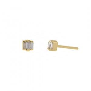 14K Yellow Gold 0.20 Ct. Genuine Three Baguette Diamond Studs Women Jewelry