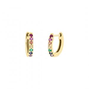 14K Yellow Gold 0.30 Ct Genuine Multi Sapphire Mini Rainbow Hoop Women Jewelry